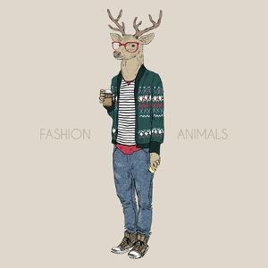 Deer Hipster Drinking Coffee by Olga_Angelloz