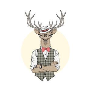 Deer Man Dressed up in Retro Style by Olga_Angelloz
