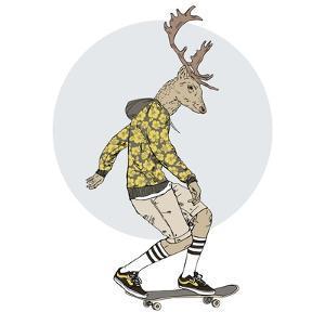 Deer Man on Skateboard by Olga_Angelloz