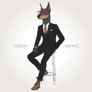 Doberman Pinscher Dog Dressed up in Black Suit - Fashion Animals Illustration by Olga_Angelloz