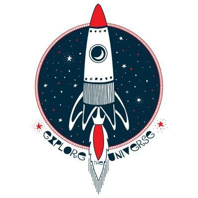 Explore the Universe - Rocket in Outer Space