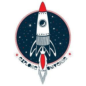 Explore the Universe - Rocket in Outer Space by Olga_Angelloz