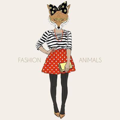 Fox Hipster Girl - Fashion Animal Illustration