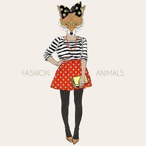 Fox Hipster Girl - Fashion Animal Illustration by Olga_Angelloz