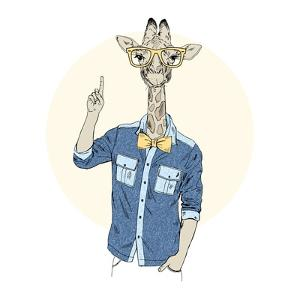 Giraffe Hipster Pointing Up by Olga_Angelloz