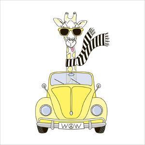 Giraffe in Sunglasses and Scarf Driving Yellow Retro Car by Olga_Angelloz