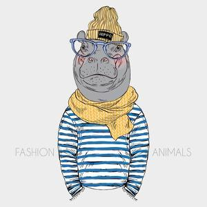Hippo Hipster in Frock and Scarf - Fashion Animal Illustration by Olga_Angelloz