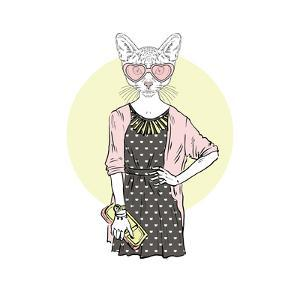 Hipster Cat Girl with Purse by Olga_Angelloz