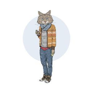 Hipster Cat with Coffee by Olga_Angelloz