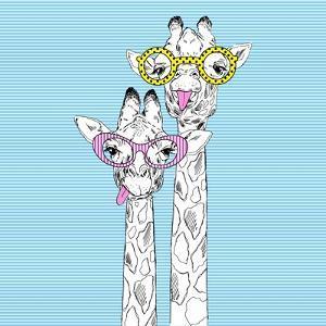 Illustration of Giraffes in Funky Glasses by Olga_Angelloz