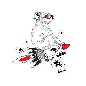 Koala Flying on the Rocket to the Moon by Olga_Angelloz