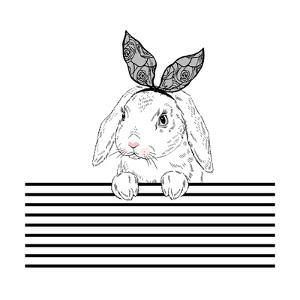 Lovely Bunny with Lace Ears and Stripy Background by Olga_Angelloz