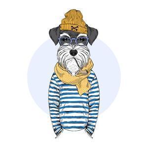 Nautical Schnauzer Dog Sailor by Olga_Angelloz