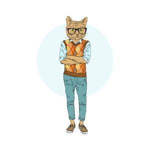 Nerdy Cat Hipster by Olga_Angelloz
