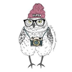 Owl Hipster with Camera by Olga_Angelloz