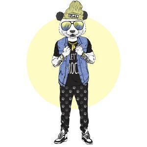 Panda Boy Dressed up in Rock Star Style by Olga_Angelloz