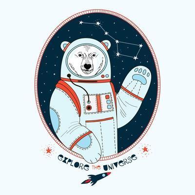 Polar Bear Astronaut in Outer Space