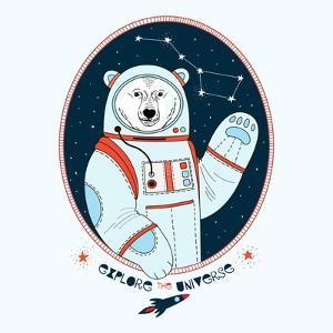 Polar Bear Astronaut in Outer Space by Olga_Angelloz