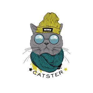 Portrait of British Short Hair Hipster Cat by Olga_Angelloz