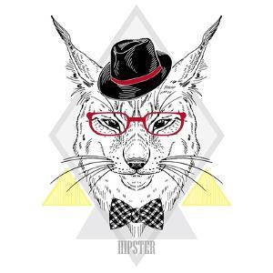 Portrait of Hipster Lynx in a Geometric Frame by Olga_Angelloz