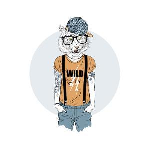 Tiger Hipster Dressed up in Cool T-Shirt by Olga_Angelloz