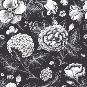 Beautiful Vintage Floral Seamless Pattern. Garden Roses, Hydrangea and Dog-Rose Flower on a Black B by Olga Korneeva