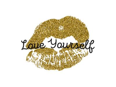 Poster with Gold Glitter Lips Prints on White Background. by Olga Rom