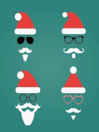Santa Klaus Fashion Silhouette Set