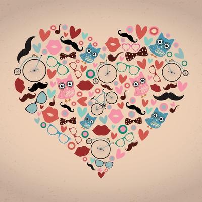Vector Hipster Doodles Set in Heart Shape