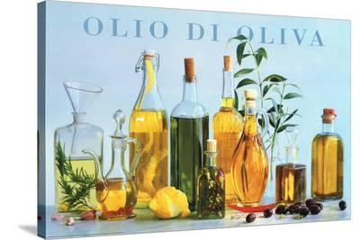 Olio di Oliva (Olive Oil Bottles) Art Poster Print--Stretched Canvas Print