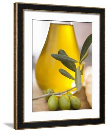 Olive Oil and Olive Sprig with Green Olives--Framed Photographic Print
