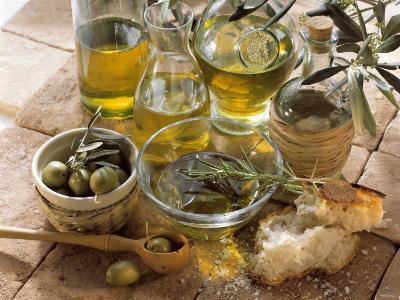Olive Oil and Olives--Photographic Print