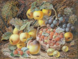 Still Life of Apples, Grapes, Raspberries, Gooseberries and Peach by Oliver Clare