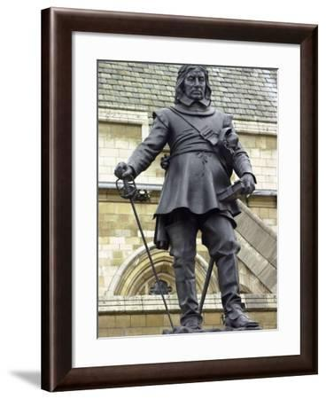 Oliver Cromwell Statue Next to Westminster Abbey, London, England--Framed Photographic Print