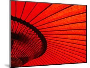 Looking Through Red Bangasa, an Oiled Rice Paper Umbrella, Japan, by Oliver Strewe