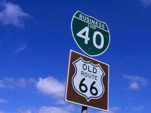 Road Sign on Old Route 66 at Texas-New Mexico Border, USA by Oliver Strewe