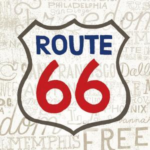 Road Trip Route 66 Navy Red by Oliver Towne