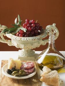 Olives, Sausage, Parmesan, Bread, Olive Oil and Red Grapes