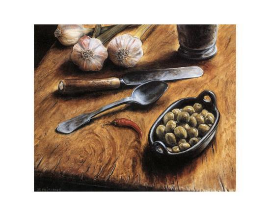 Olives with Pepper-Jeanette Tr?panier-Art Print
