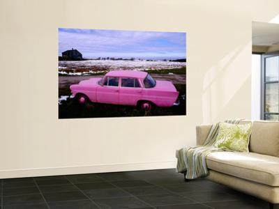 Pink Mercedes Car in Snow-Capped Area, Somme Region