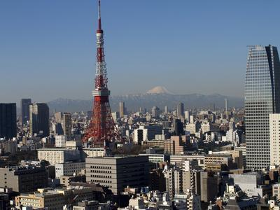Tokyo Tower, City Skyline and Mount Fuji Beyond, Tokyo, Japan, Asia