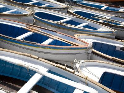 Boats for the Visit to the Famous Blue Grotto, Capri, Bay of Naples, Italy, Europe