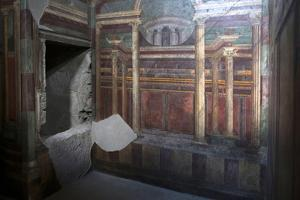 Geometric Frescoes of the Cubicola in the Villa Dei Misteri, Pompeii, Campania, Italy by Oliviero Olivieri