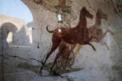 Roman Chariot Fresco, Ancient Ostia (Ostia Antica), Rome, Lazio, Italy, Europe