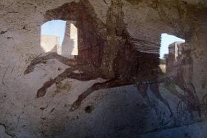 Roman Chariot Fresco, Ancient Ostia (Ostia Antica), Rome, Lazio, Italy, Europe by Oliviero Olivieri
