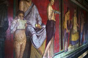 The Baccantis in the Triclinium in the Villa Dei Misteri, Pompeii, Campania, Italy by Oliviero Olivieri