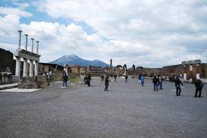 The Forum of Pompeii with Mount Vesuvius in the Background, Pompeii, Campania, Italy by Oliviero Olivieri