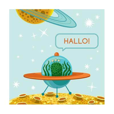 Friendly Alien in Spaceship by oliycka