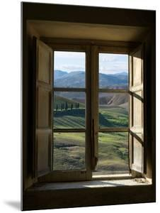 Outside View of Cypress Trees and Green Hills Through a Shabby Windows by ollirg