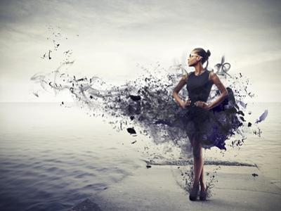 Black Girl, with a Black Dress Which Becomes Paint, Standing on a Pier by olly2